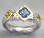 blue and yellow princess cut sapphire band