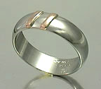platinum and rose gold stripes ring