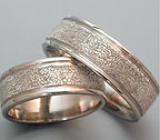 stippled texture wedding bands